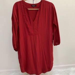 Madewell Du Jour Tunic Viscose Red LS Shirt Dress